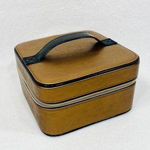 "Vintage Lancome Square Cosmetic Case w/Black Patent Handle - 6.25"" x 6.75"" - EUC"